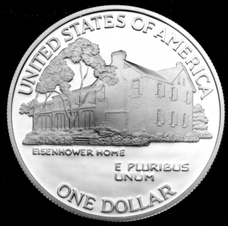 1990 Eisenhower Hundredth Anniversary Commemorative Silver One Dollar Proof Reverse