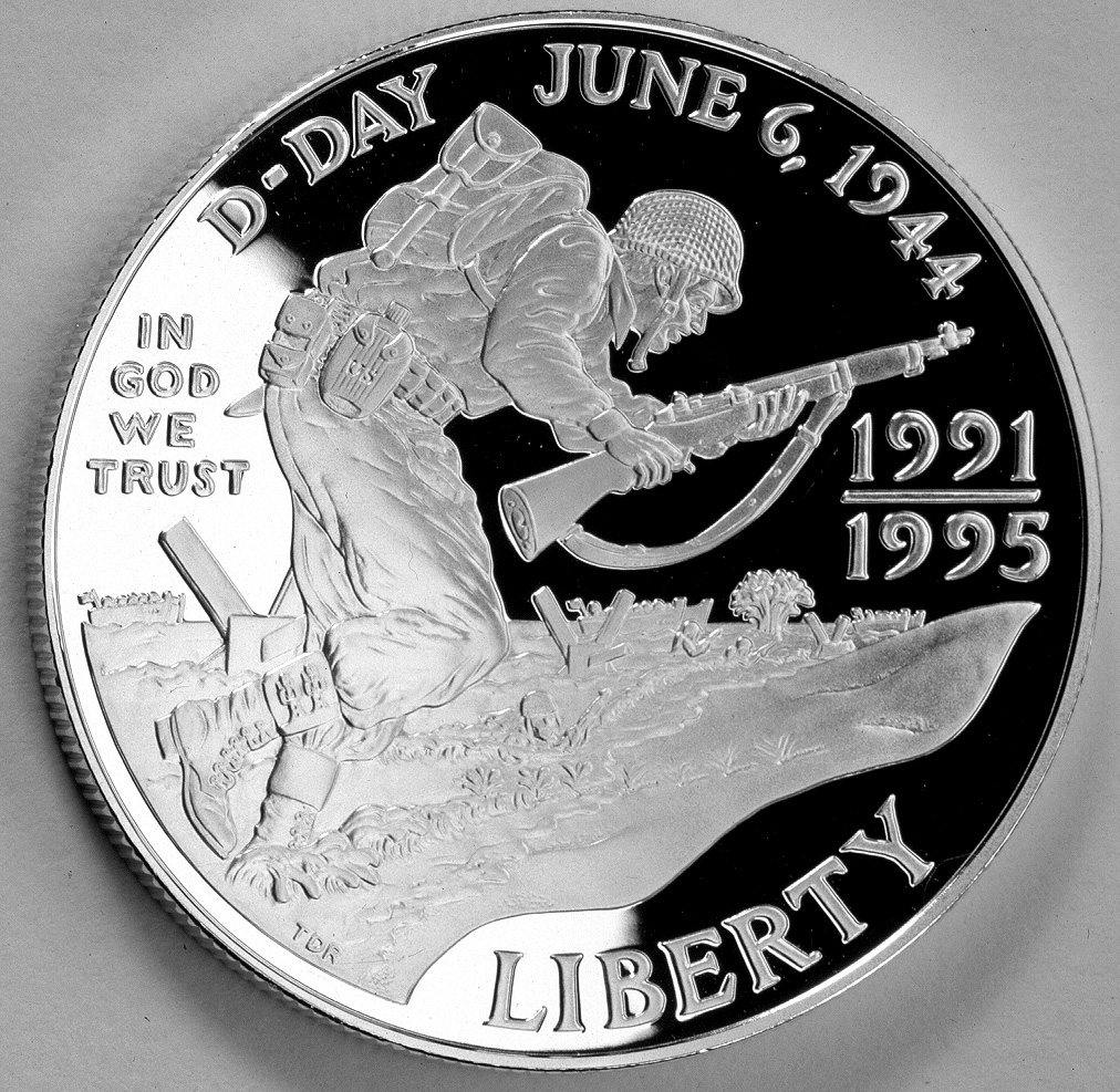 1991-1995 Wwii Fiftieth Anniversary Commemorative Silver One Dollar Proof Obverse