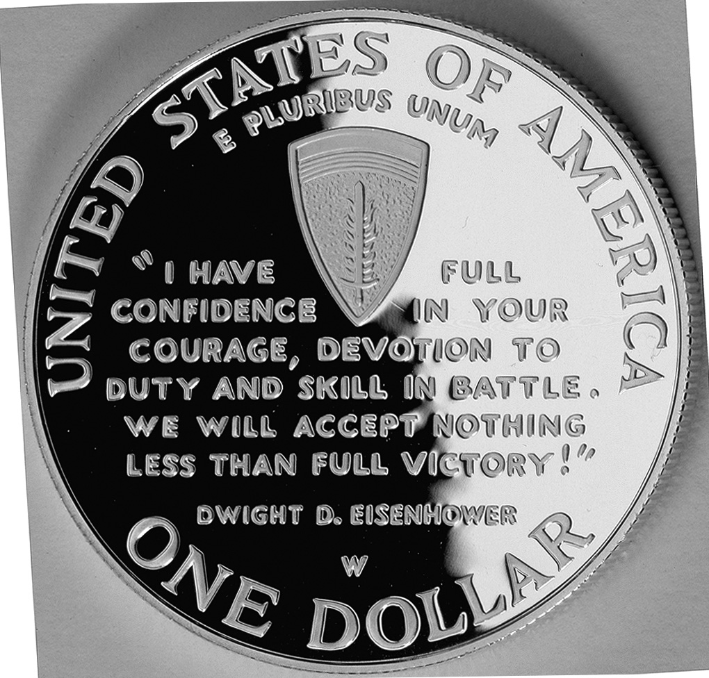 1991-1995 Wwii Fiftieth Anniversary Commemorative Silver One Dollar Proof Reverse