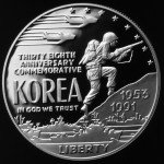 1991 Korean War Thirty Eighth Anniversary Commemorative Silver One Dollar Proof Obverse