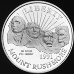 1991 Mount Rushmore Golden Anniversary Commemorative Clad Half Dollar Proof Obverse