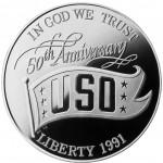 1991 United Service Organization Fiftieth Anniversary Commemorative Silver One Dollar Proof Obverse