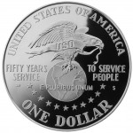 1991 United Service Organization Fiftieth Anniversary Commemorative Silver One Dollar Proof Reverse