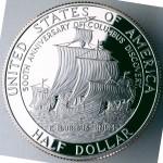 1992 Christopher Columbus Quincentenary Commemorative Clad Half Dollar Proof Reverse