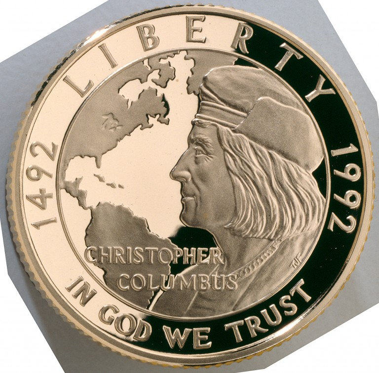1992 Christopher Columbus Quincentenary Commemorative Gold Five Dollar Proof Obverse