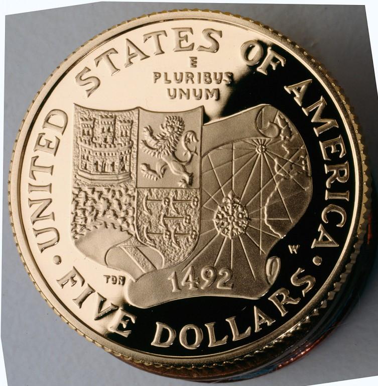 1992 Christopher Columbus Quincentenary Commemorative Gold Five Dollar Proof Reverse