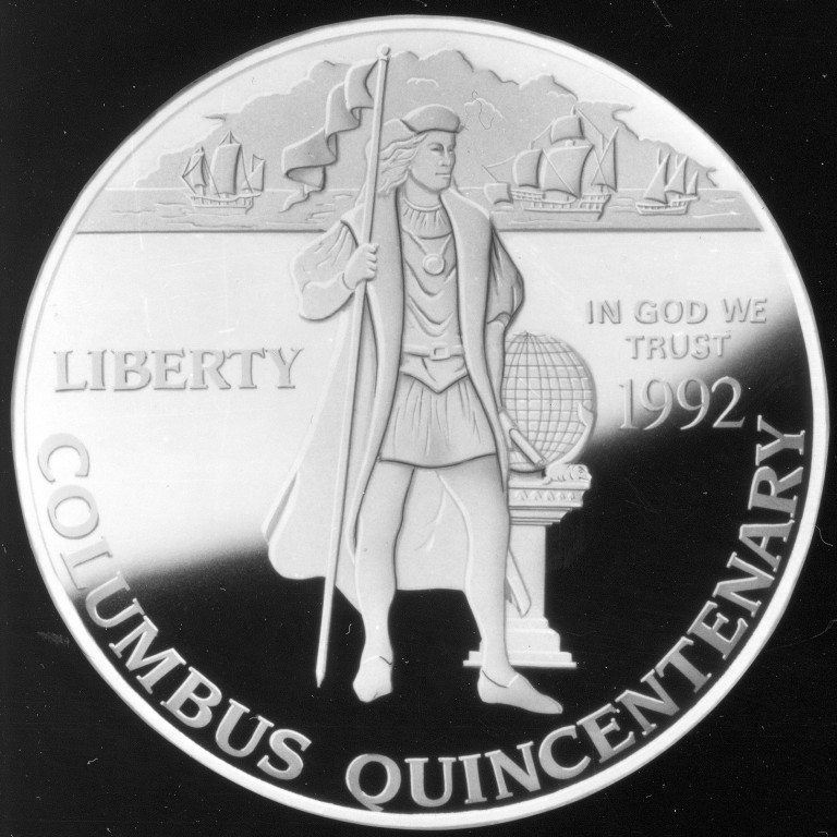 1992 Christopher Columbus Quincentenary Commemorative Silver One Dollar Proof Obverse