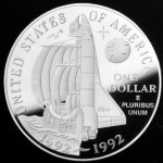 1992 Christopher Columbus Quincentenary Commemorative Silver One Dollar Proof Reverse