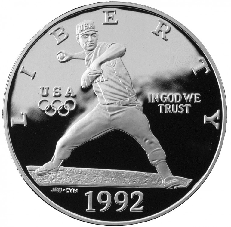 1992 Olympics France And Spain Commemorative Silver One Dollar Proof Obverse