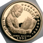 1993 Bill Of Rights Commemorative Gold Five Dollar Proof Obverse
