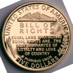1993 Bill Of Rights Commemorative Gold Five Dollar Proof Reverse