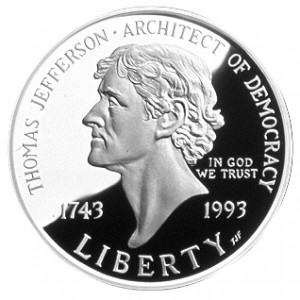 1993 S Thomas Jefferson 250th Anniversary Commemorative Silver Dollar Gem Proof Deep Cameo DCAM Original Packaging with COA US Mint