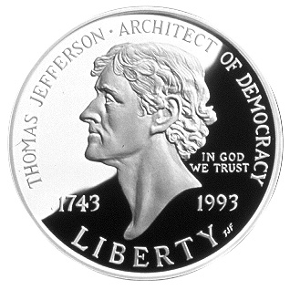 1993 Thomas Jefferson Two Hundred Fiftieth Anniversary Silver Dollar Obverse