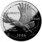 1994 United States Prisoner Of War Commemorative Silver One Dollar Proof Obverse