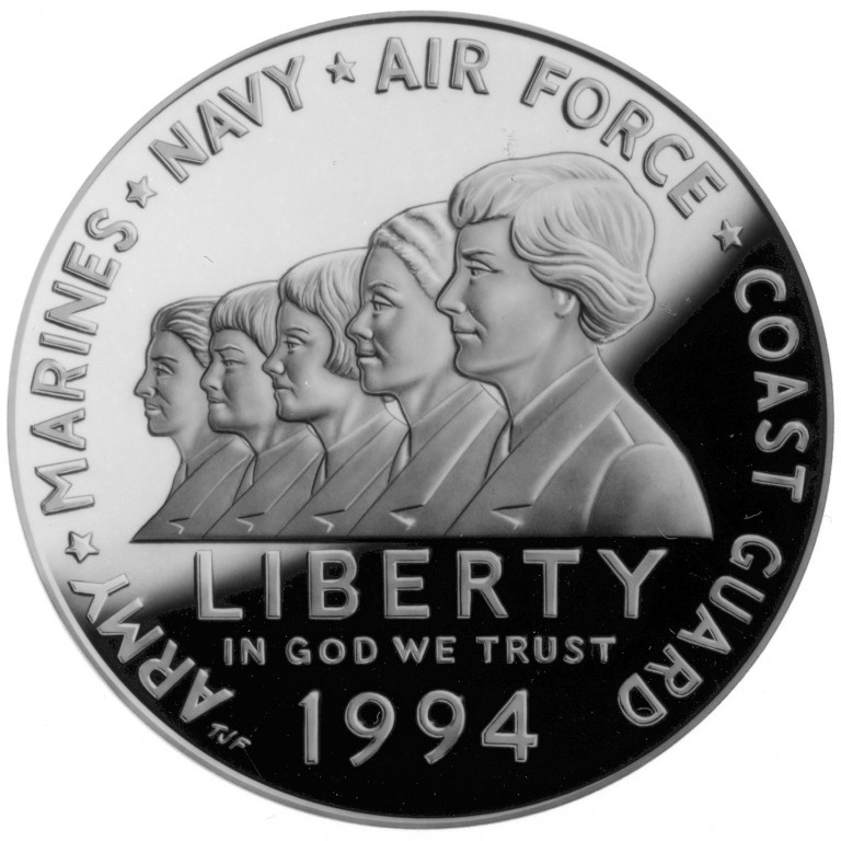1994 Women In Military Service For America Commemorative Silver One Dollar Proof Obverse