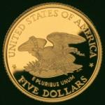 1995 Civil War Battlefield Commemorative Gold Five Dollar Proof Reverse