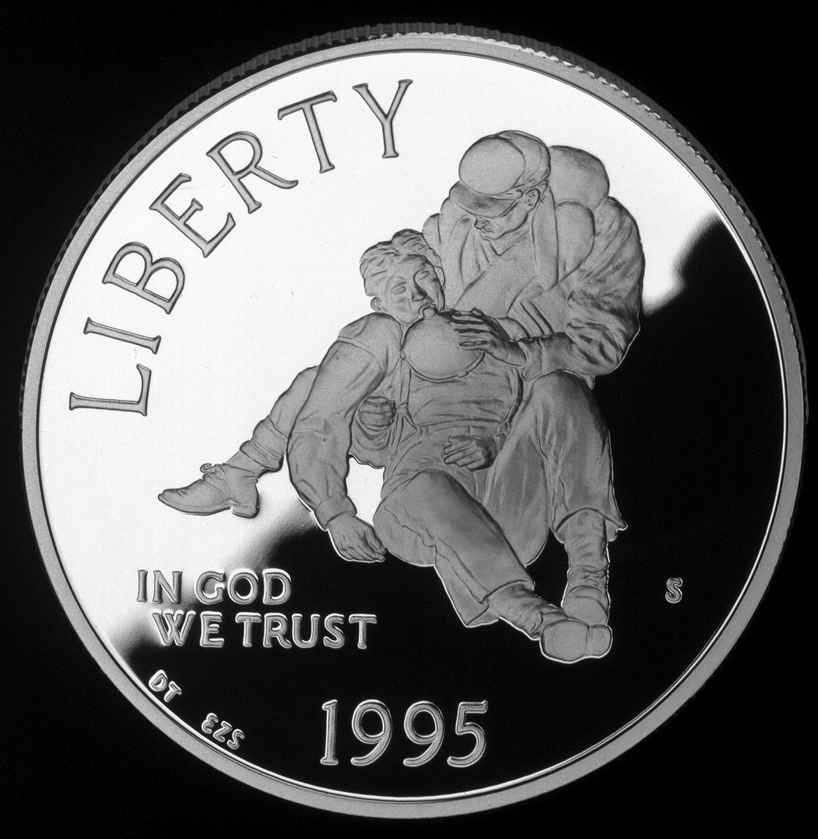 1995 Civil War Battlefield Commemorative Silver One Dollar Proof Obverse