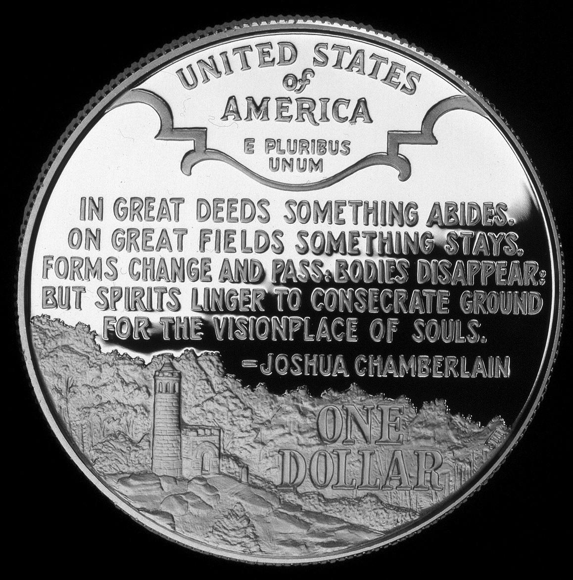 1995 Civil War Battlefield Commemorative Silver One Dollar Proof Reverse