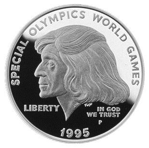 1995 Special Olympics World Games Commemorative Silver One Dollar Proof Obverse