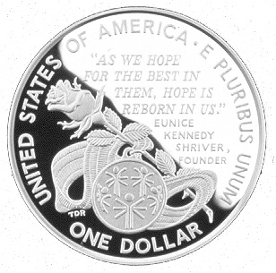 1995 Special Olympics World Games Commemorative Silver One Dollar Proof Reverse