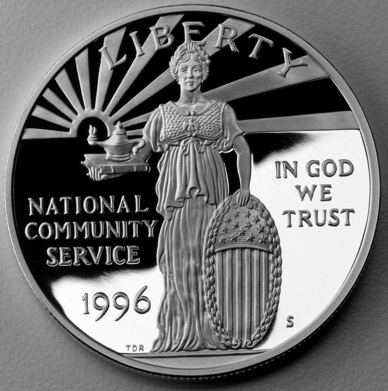 1996 National Community Service Commemorative Silver One Dollar Proof Obverse