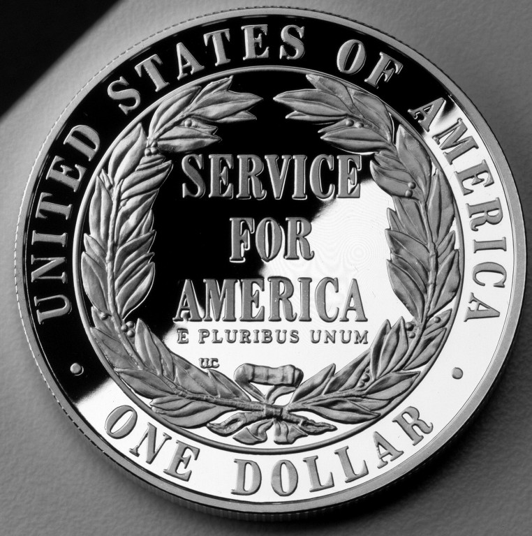 1996 National Community Service Commemorative Silver One Dollar Proof Reverse