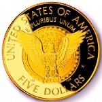 1997 Franklin Delano Roosevelt Commemorative Gold Five Dollar Proof Reverse