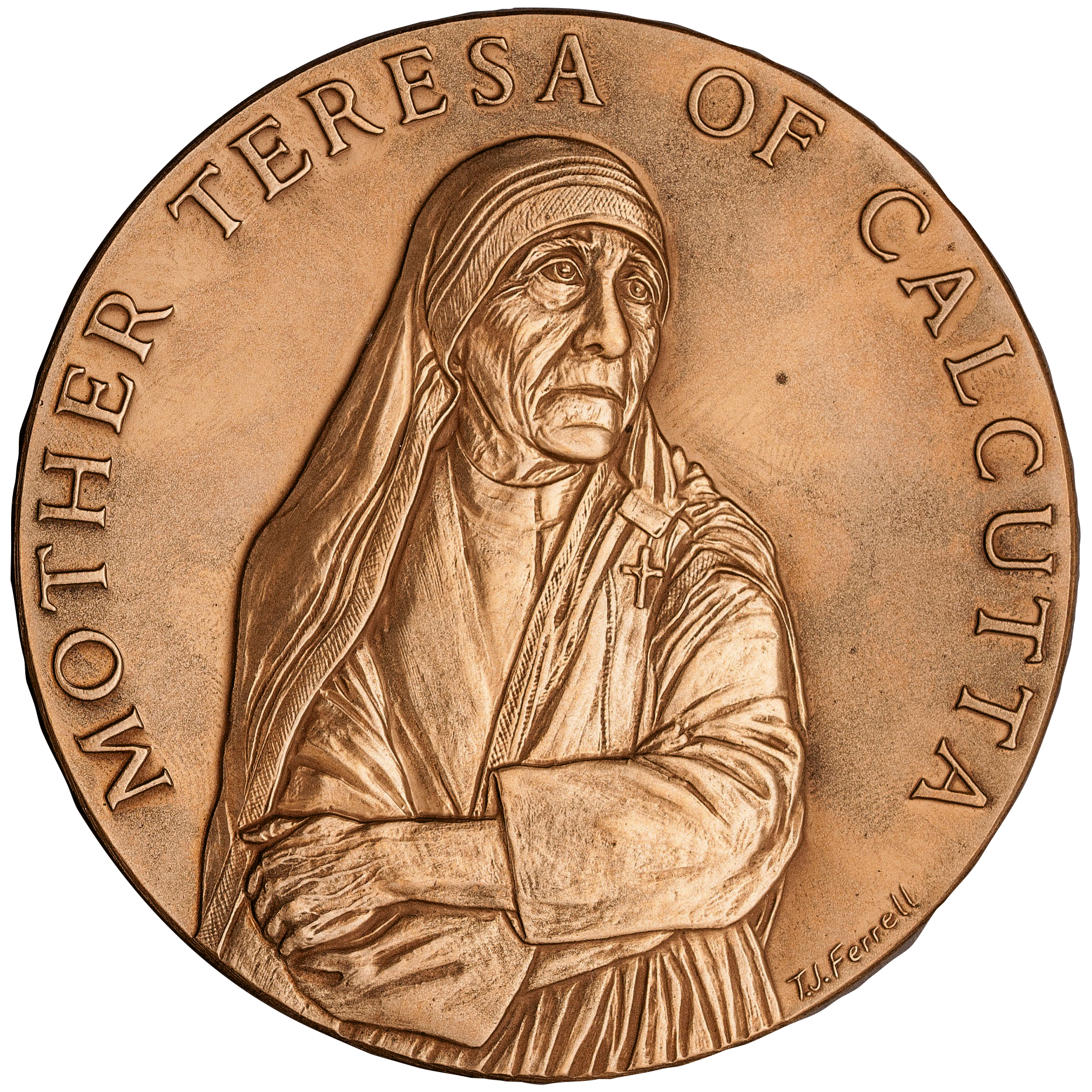 1997 Mother Theresa Bronze Medal Obverse