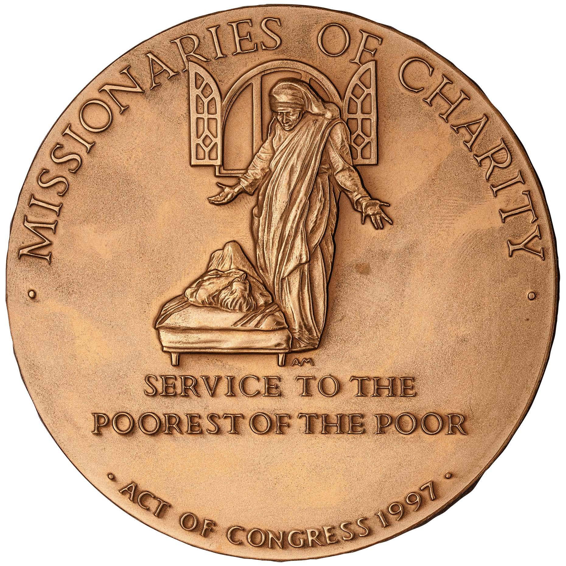 1997 Mother Theresa Bronze Medal Reverse