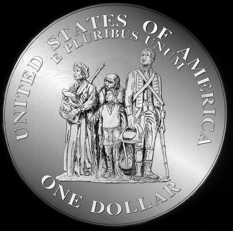 1998 Revoultionary War Patriots Commemorative Silver One Dollar Proof Reverse