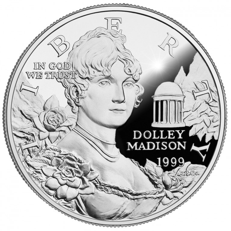 1999 Dolley Madison Commemorative Silver One Dollar Proof Obverse