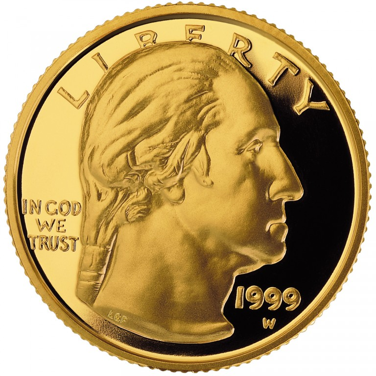 1999 George Washington Commemorative Gold Five Dollar Proof Obverse