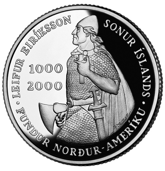 2000 Leif Ericson Icelandic Kronur Commemorative Silver One Dollar Proof Obverse