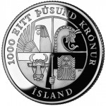 2000 Leif Ericson Icelandic Kronur Commemorative Silver One Dollar Proof Reverse