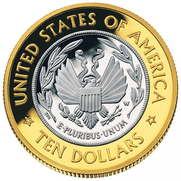2000 Library Of Congress Commemorative Bimetallic Ten Dollar Proof Reverse