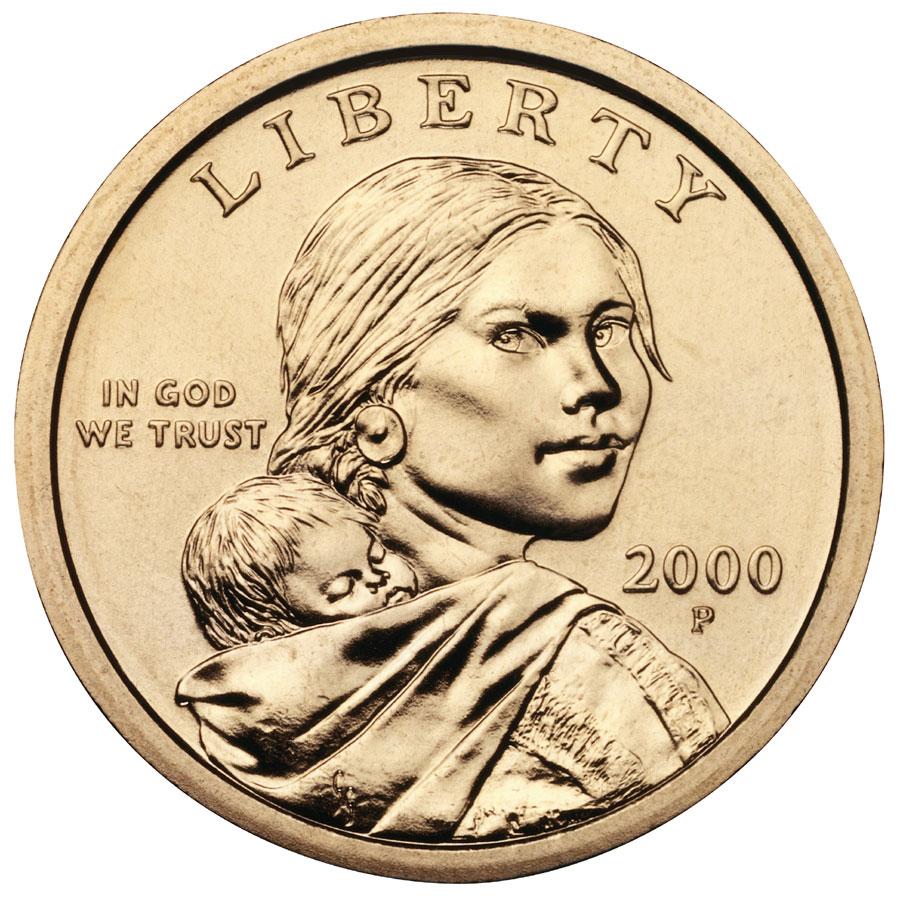 2000 Sacagawea Golden Dollar Uncirculated Obverse