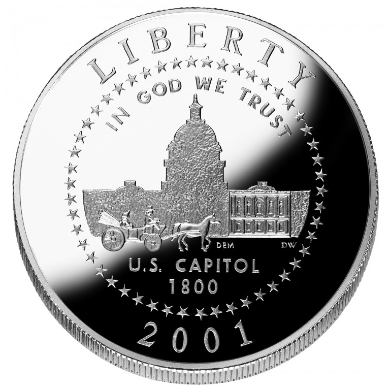 2001 United States Capitol Visitor Center Commemorative Clad Half Dollar Proof Obverse