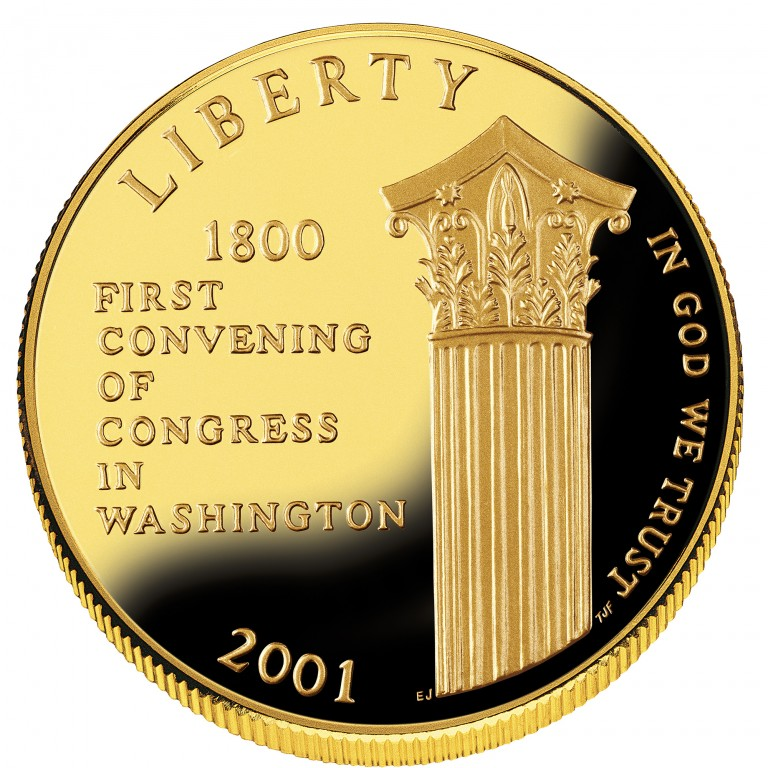 2001 United States Capitol Visitor Center Commemorative Gold Five Dollar Proof Obverse