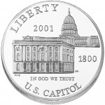 2001 United States Capitol Visitor Center Commemorative Silver One Dollar Uncirculated Obverse