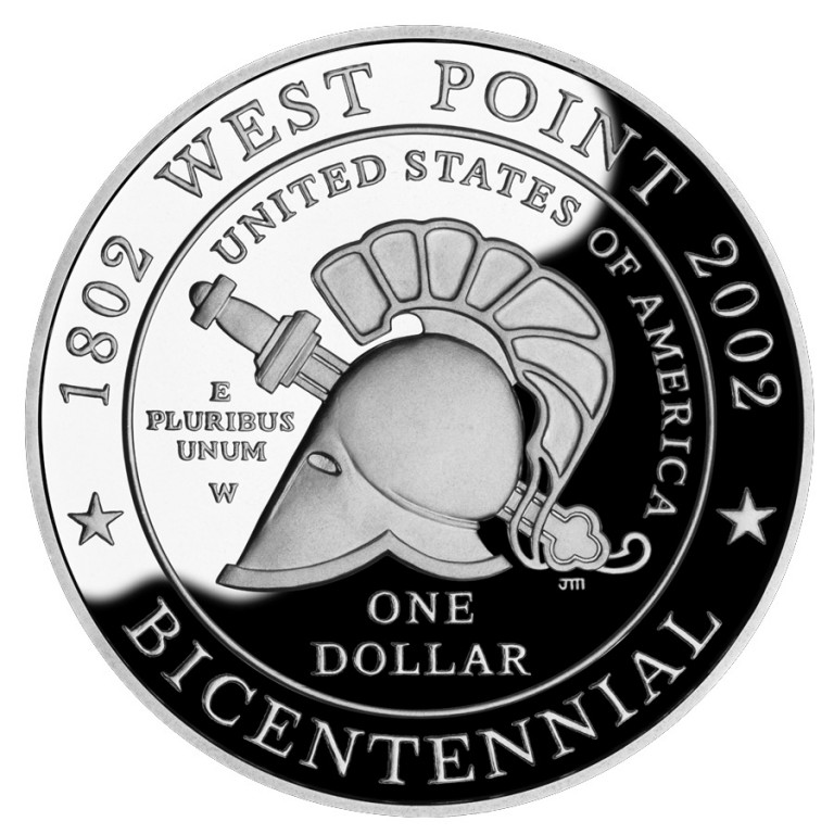 2002 West Point Bicentennial Commemorative Silver One Dollar Proof Reverse
