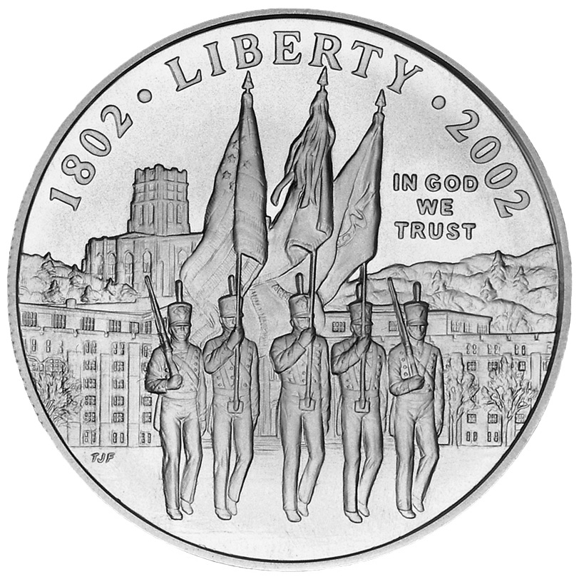 2002 West Point Bicentennial Commemorative Silver One Dollar Uncirculated Obverse