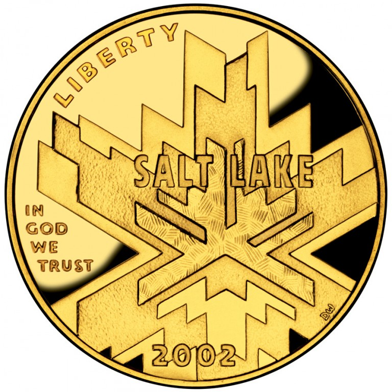 2002 Winter Olympics Salt Lake City Commemorative Gold Five Dollar Proof Obverse
