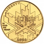 2002 Winter Olympics Salt Lake City Commemorative Gold Five Dollar Uncirculated Obverse