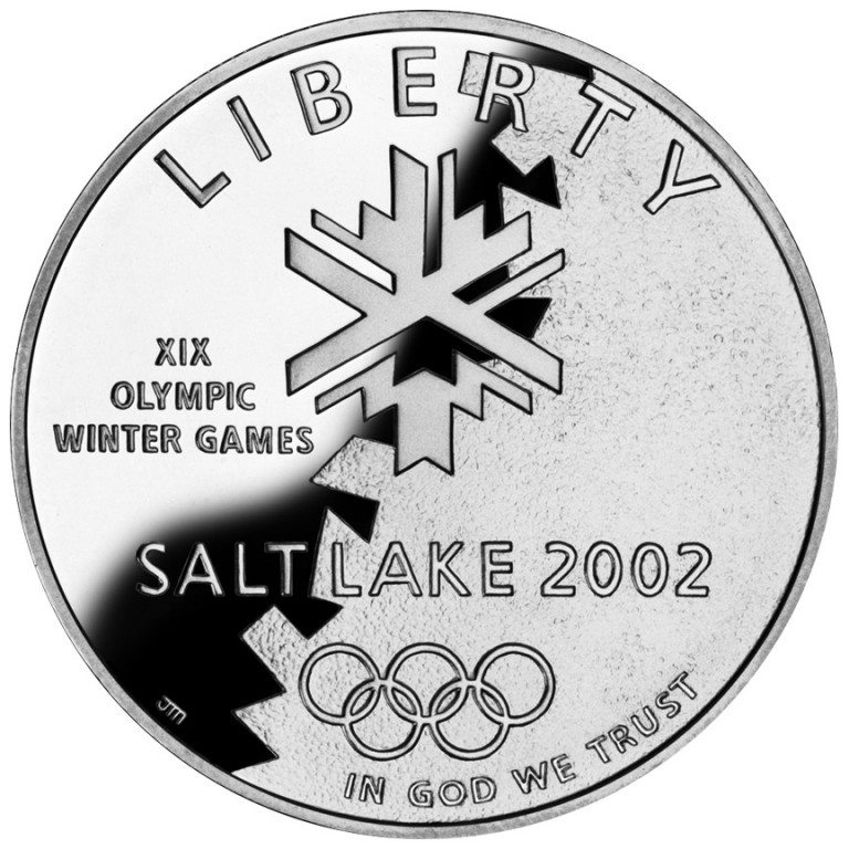 2002 Winter Olympics Salt Lake City Commemorative Silver One Dollar Proof Obverse