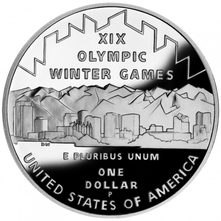 2002 Winter Olympics Salt Lake City Commemorative Silver One Dollar Proof Reverse