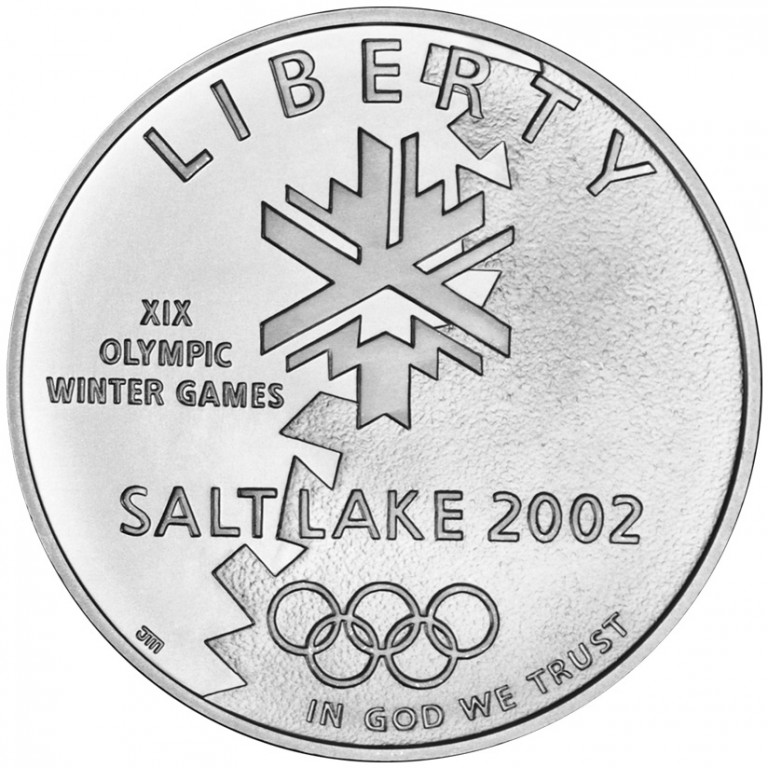 2002 Winter Olympics Salt Lake City Commemorative Silver One Dollar Uncirculated Obverse
