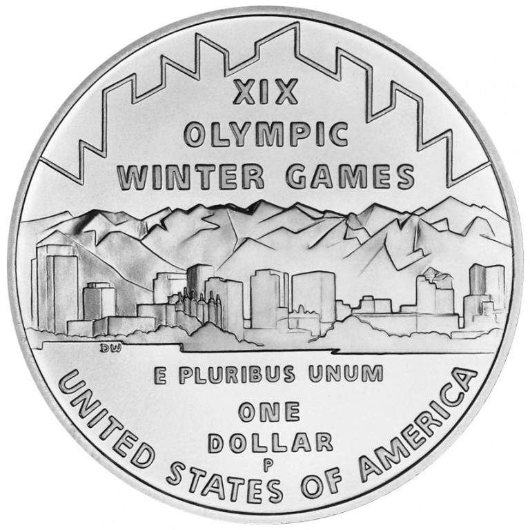 2002 Winter Olympics Salt Lake City Commemorative Silver One Dollar Uncirculated Reverse