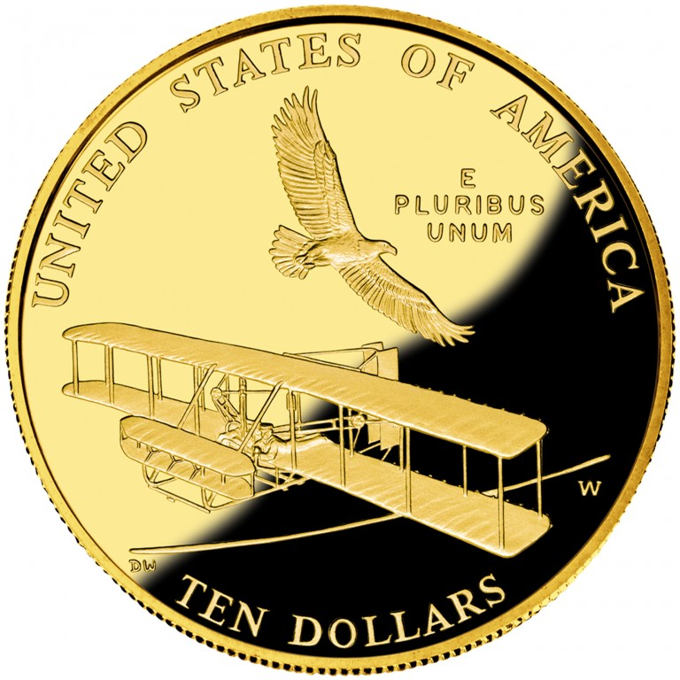 2003 First Flight Centennial Commemorative Gold Ten Dollar Proof Reverse