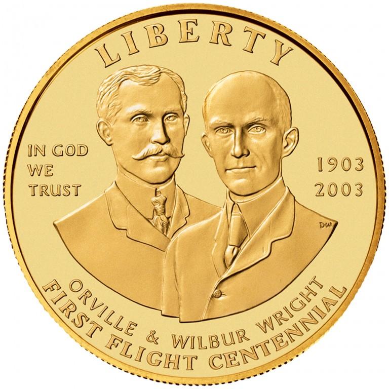 2003 First Flight Centennial Commemorative Gold Ten Dollar Uncirculated Obverse