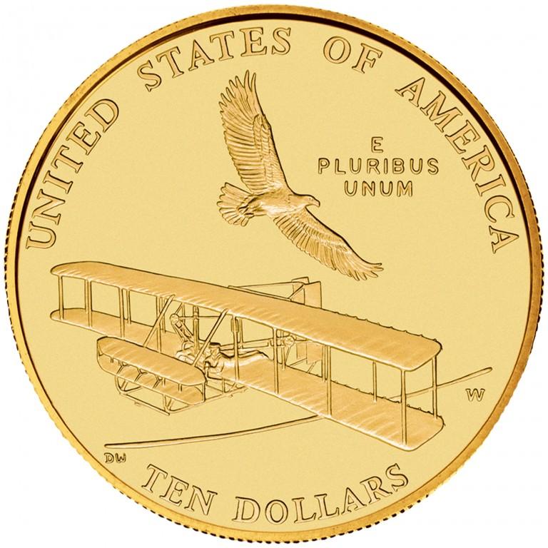 2003 First Flight Centennial Commemorative Gold Ten Dollar Uncirculated Reverse